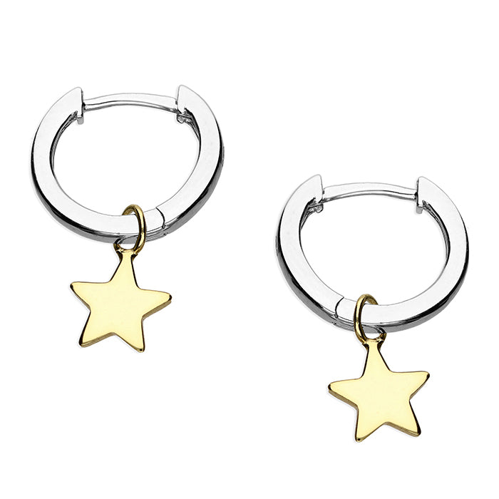 Small Gold or Silver Huggie Earrings with Detachable Star