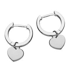 Small Gold or Silver Huggie Earrings with Detachable Heart