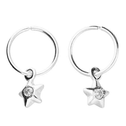 """Diamond"" Set Star Charm Sleeper Hoop Earrings"