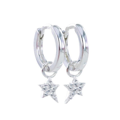 Detachable Silver Star Hoop Earrings