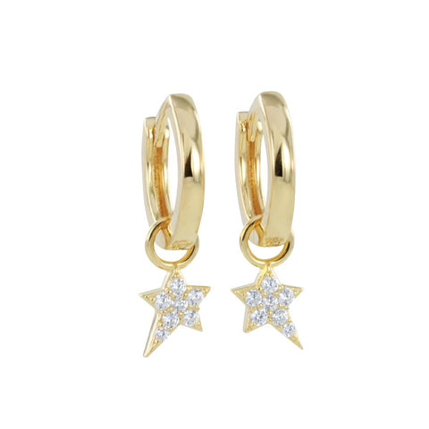 Detachable Gold Star Hoop Earrings
