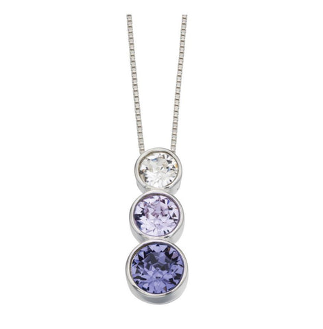 Triple Rubover Violet, Tanzanite and Clear Stone Pendant
