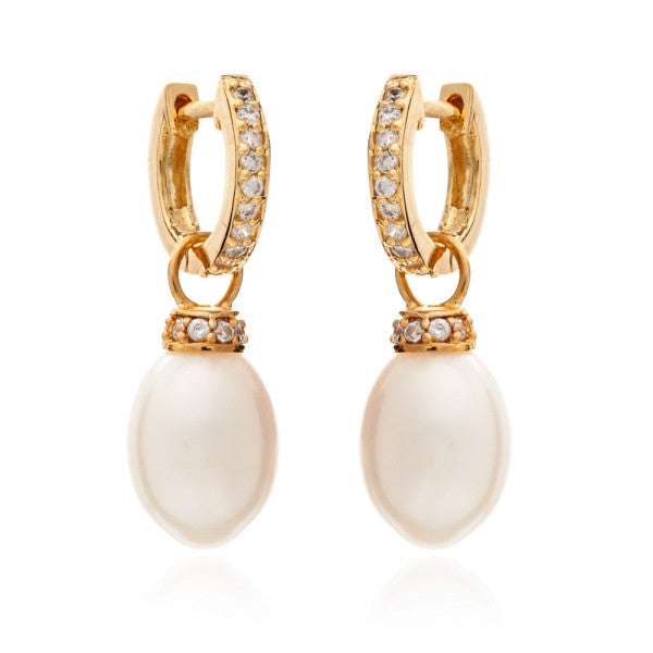 Detachable Pearl and Diamante Gold Hoop Earrings