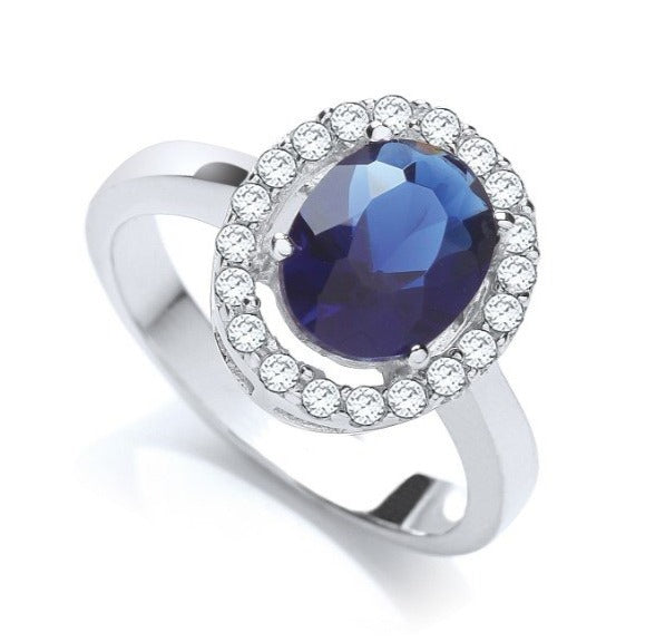 "Oval ""Sapphire"" Style Cluster Ring"