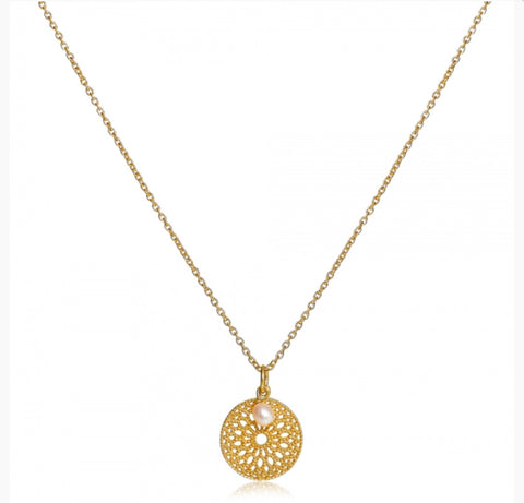 Gold Disc & Pearl Necklace