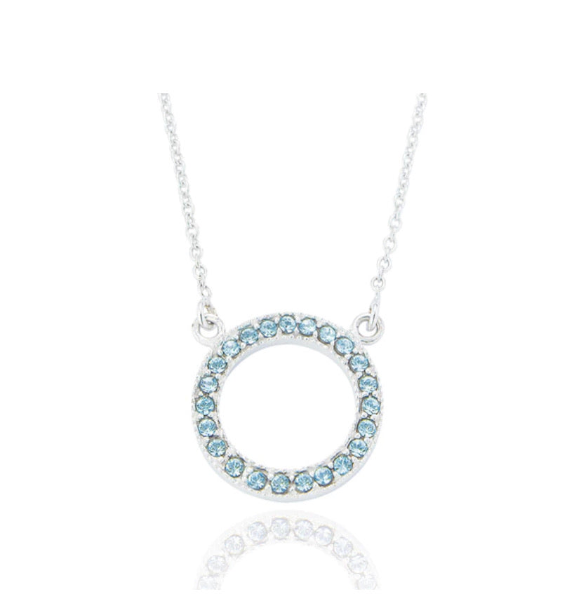 Aquamarine Open Circle Pendant