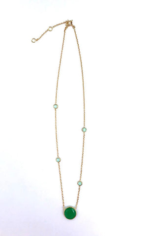 Gold Emerald & Quartz Necklace