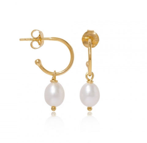 Small 18ct Gold Vermeil Hoop & Oval Pearls