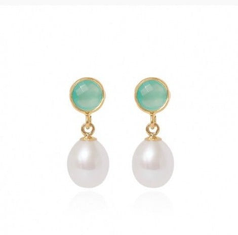 Cerulean Stud Earrings with White Baroque Pearl Drops