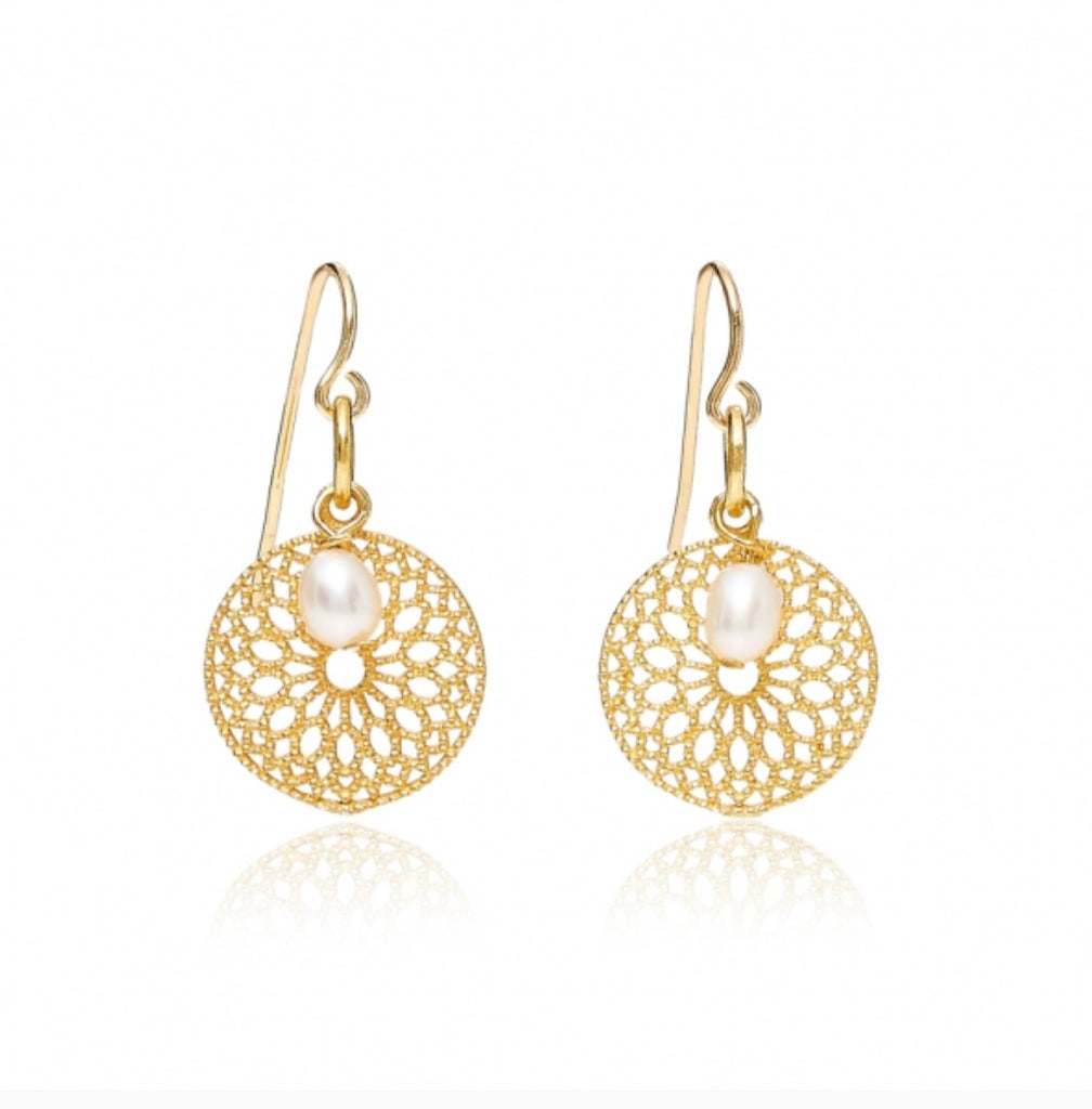 Gold Disc & Pearl Earrings