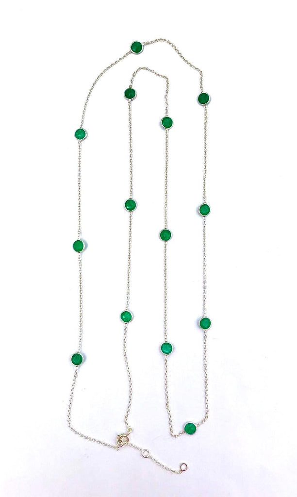 Silver Long Gemstone Necklaces