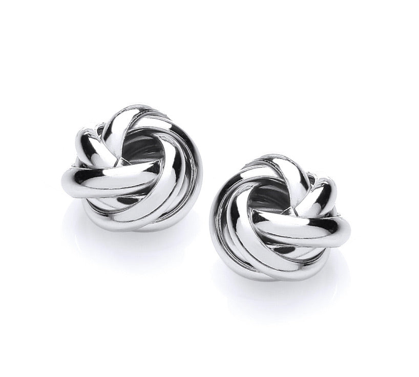 High Shine Silver Knot Earrings