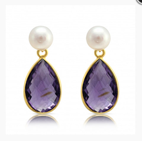 White Pearl Studs with Amethyst Drops