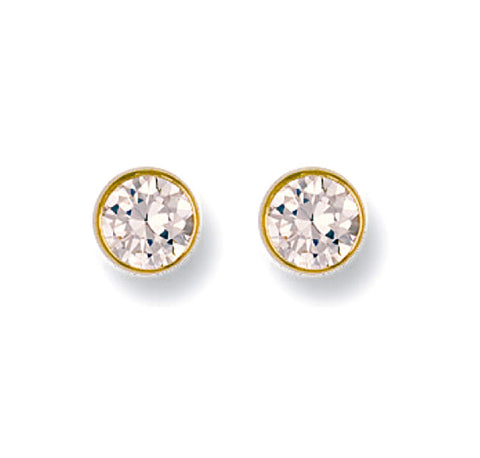 9ct Gold Rubover 6mm Cz Studs