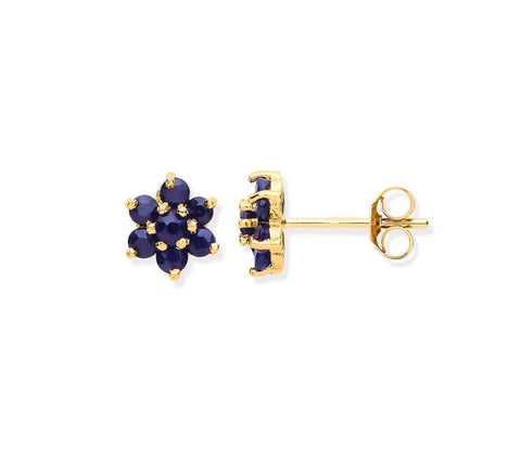9ct Gold Sapphire Flower Earrings