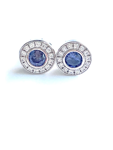 "Chic Victorian-Style ""Tanzanite"" & Diamond Cluster Earrings"