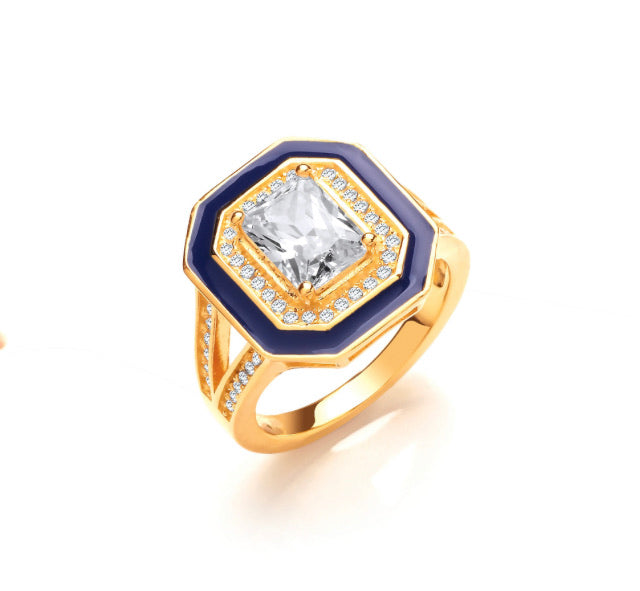 "Blue Enamel & ""Diamond"" Gold Ring"