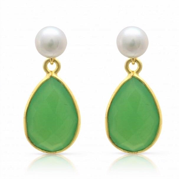 White pearl studs with chrysoprase onyx drop  onyx