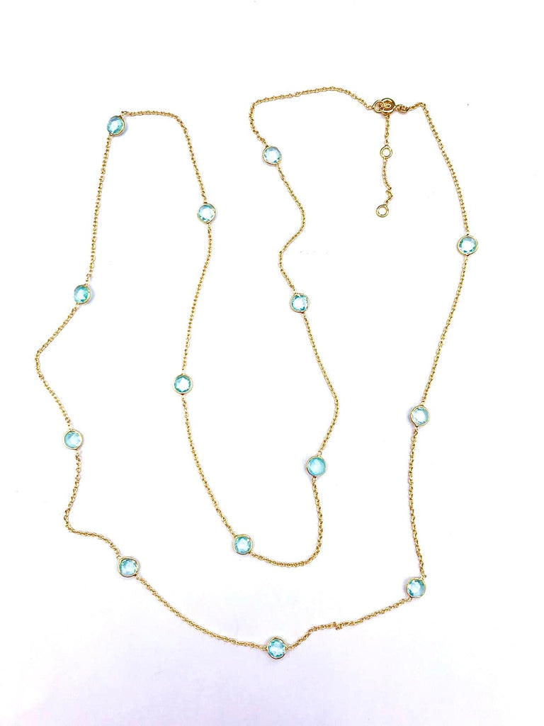 Gold Long Gemstone Necklaces