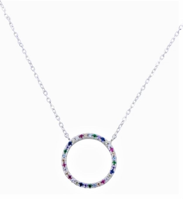 Multi Coloured Gold or Silver Circle Necklace