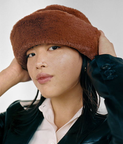 Faux Fur Bucket Hat in Brandy - CLYDE