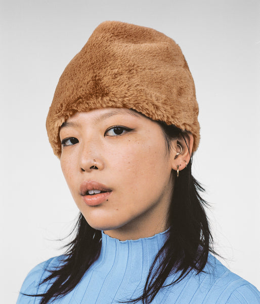 Faux Fur Toque in Tan - CLYDE