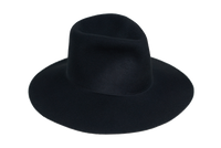 Wide Brim Pinch Hat in Black Wool - CLYDE