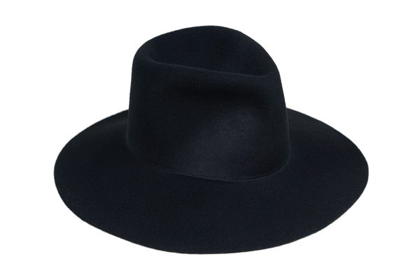 Wide Brim Pinch Hat in Black Wool