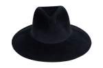 Wide Brim Pinch Hat in Black Angora - CLYDE