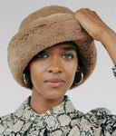 Faux Fur Bucket Hat in Tan - CLYDE