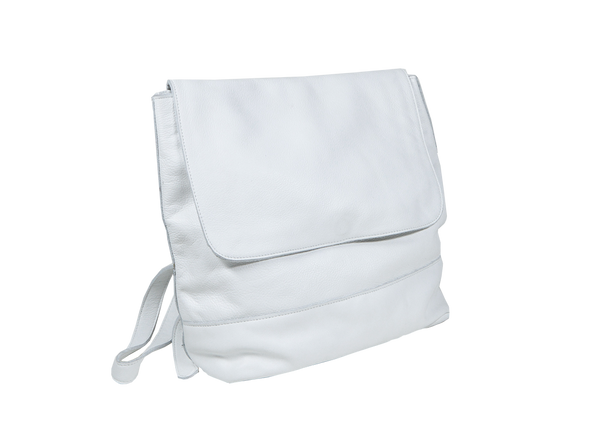 Room Backpack in White Leather - CLYDE