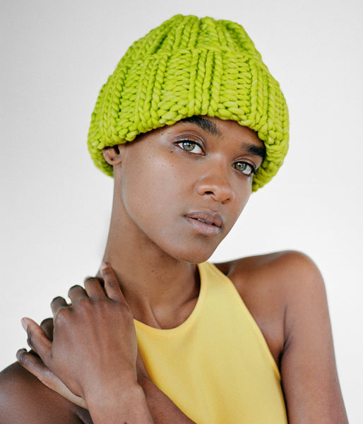 Fold Hat in Hot Green - CLYDE