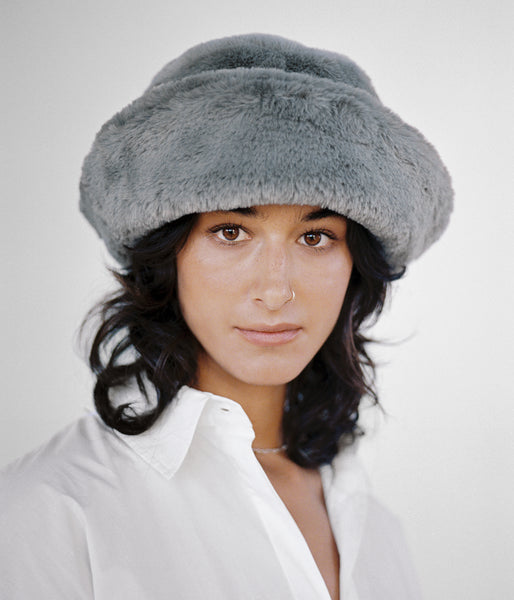 Faux Fur Bucket Hat in Overcast - CLYDE