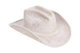 Cowboy Hat in Alabaster Long Hair Angora
