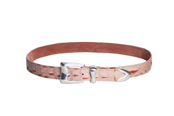 Wave Belt in Pink Embossed Gator - CLYDE