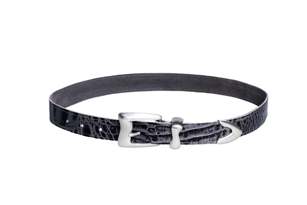 Wave Belt in Charcoal Embossed Gator - CLYDE