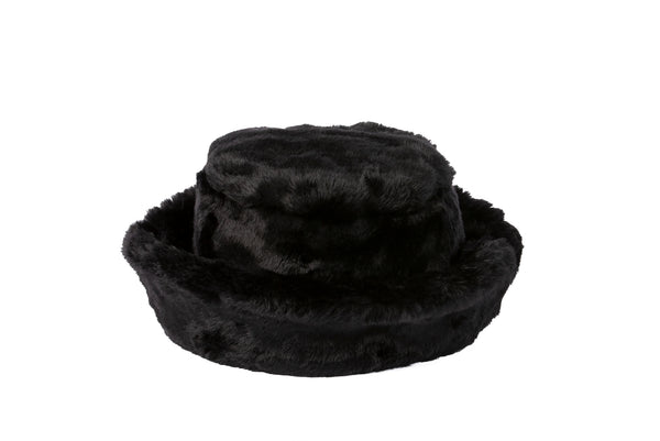 Fur Bucket Hat in Black - CLYDE