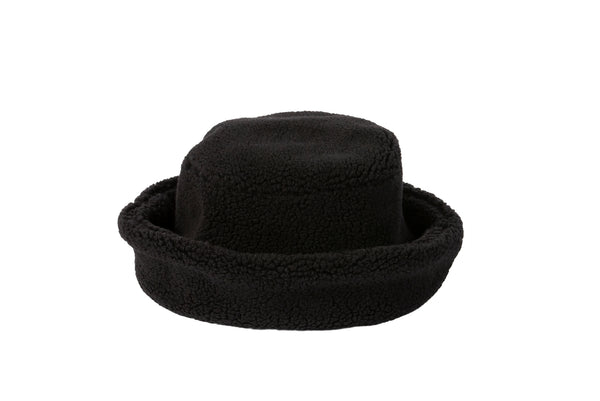 Fur Bucket Hat in Black Shearling Fleece - CLYDE