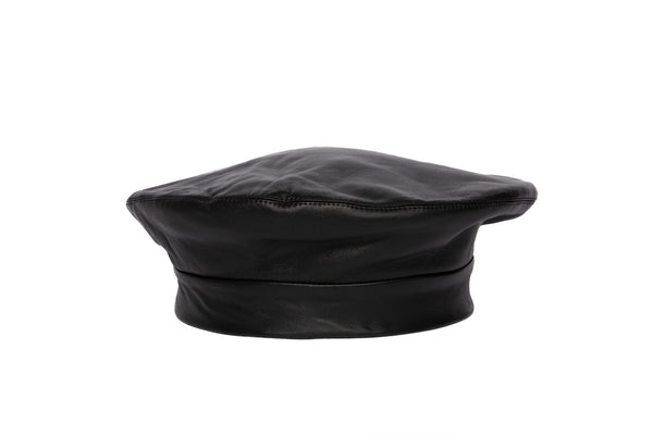 Lambskin Beret in Black - CLYDE