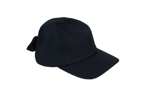 Tie Baseball Cap in Black Wool