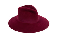 Wide Brim Pinch Hat in Wine Angora