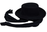 Gambler Hat in Black Wool w. Neck Scarf - CLYDE