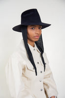 Pinch Hat in Black Angora w. Neck Shade - CLYDE