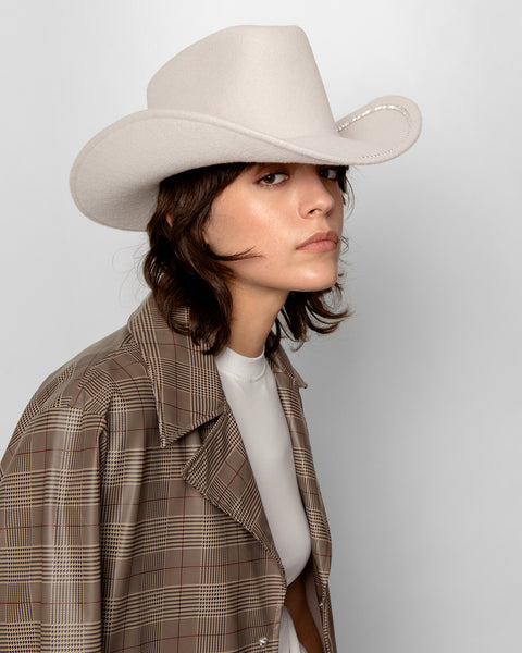 Rhinestone Cowboy Hat in Alabaster Crystal - CLYDE