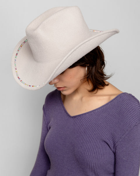 Rhinestone Cowboy Hat in Rainbow Crystal - CLYDE