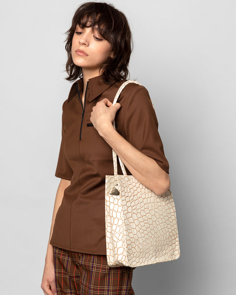 New Rectangle Bag in Cream Croc - CLYDE
