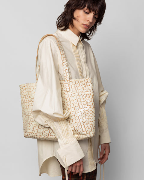 Mirage Tote in Cream Croc - CLYDE