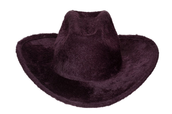 Cowboy Hat in Aubergine Long Hair Angora - CLYDE
