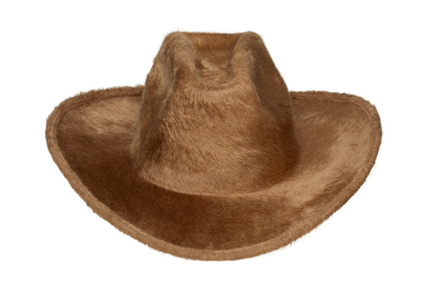 Cowboy Hat in Camel Long Hair Angora - CLYDE