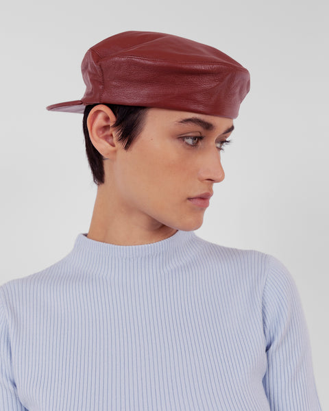 Lambskin Acton Hat in Cognac - CLYDE